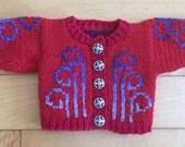 Doll Sweater Red Swirls