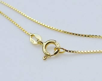 18K Gold over 925 Sterling Silver Box Chain, Finished Chain - 2 pcs - 18 Inches, 1mm - Made in Italy