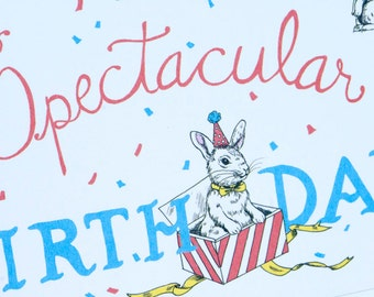 SALE - Happy  Birthday greeting card - Birthday Bunnies - 50% off