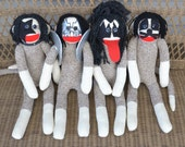 Sock Monkey Dolls, KISS the Band, Set of Four