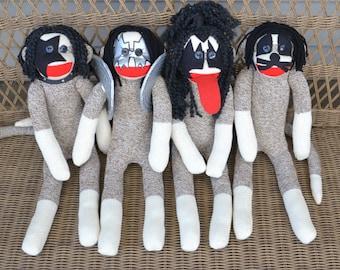 Sock Monkey Dolls, KISS the Band, Set of Four