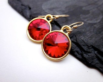 Bright Red Dangles -- Light Siam Swarovski Crystal Earrings -- Gold & Red Earrings -- Light Red Crystal Drops -- Red Crystal Earrings