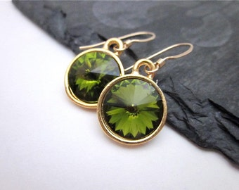 Olivine Crystal Earrings -- Swarovski Earrings -- Olive Crystal Earrings -- Gold & Olive Green Earrings -- Olive Green Dangle Earrings