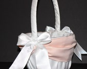 White or Ivory & Peach Accent Wedding Flower Girl Basket
