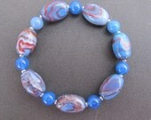8 inch Stretch Bracelet - Handmade Polymer Clay Beads - Blue and Brown With Blue Agate and Silver