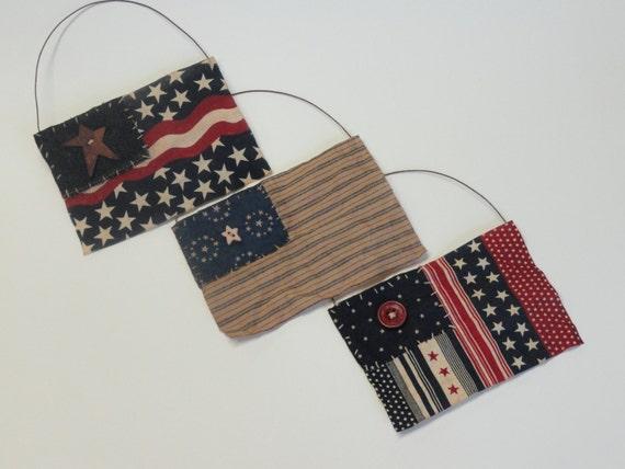 Folk Art Flags Primitive Americana Decor Rustic Country