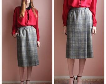 Giorgio Armani Skirt / Wool Plaid Winter Midi Skirt / Secretary Pocket Skirt