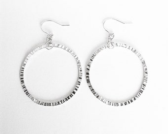 Medium Circle Hammered Silver Hoop Earrings - Handmade Sterling Hammer Texture Thin Rings Women Minimal Organic Ear Hooks