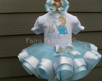 Custom tutu..RIBBON TRIMMED tutu set..FROZEN elsa inspired tutu set, blue and silver, birthday, size 3 month-3T,  first birthday, snowflake