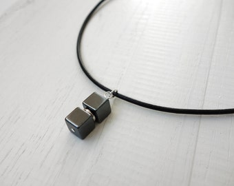 Mens leather necklace hematite stone pendant black cord necklace for men for women made to order
