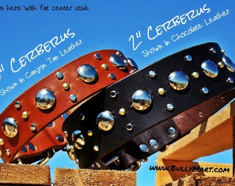 "CERBERUS MOON - 1.5"" or 2"" wide STUDDED Mixed Metal Leather Dog Collar"