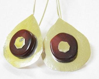 Coral Earrings.Long Coral Silver Earrings.Brown Earrings
