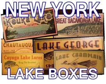 lake house decor New York  fishing camp cabin fishing lure boxes