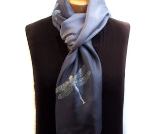 Silk Scarf in grey, hand printed with silver Dragonflies