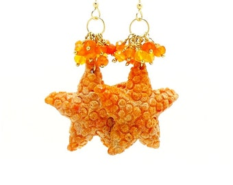 Starfish Earrings, Carved Coral Earrings, Beach Earrings, Seashell Earrings, Ocean Earrings, Beach Jewelry, Starfish Jewelry