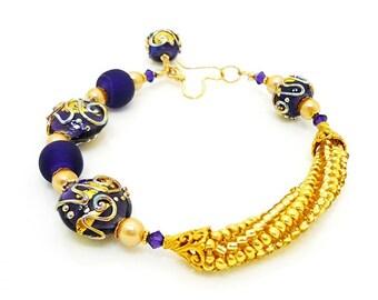 Purple Gold Scroll Bracelet, Beaded Bracelet, Lampwork Bracelet, Glass Bracelet, Statement Jewelry, Lampwork Jewelry, Glass Beads Jewelry