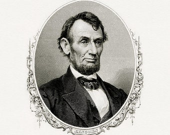 Bureau of Engraving and Printing reproduction Intaglio engraving 8 x 10 Abraham Lincoln