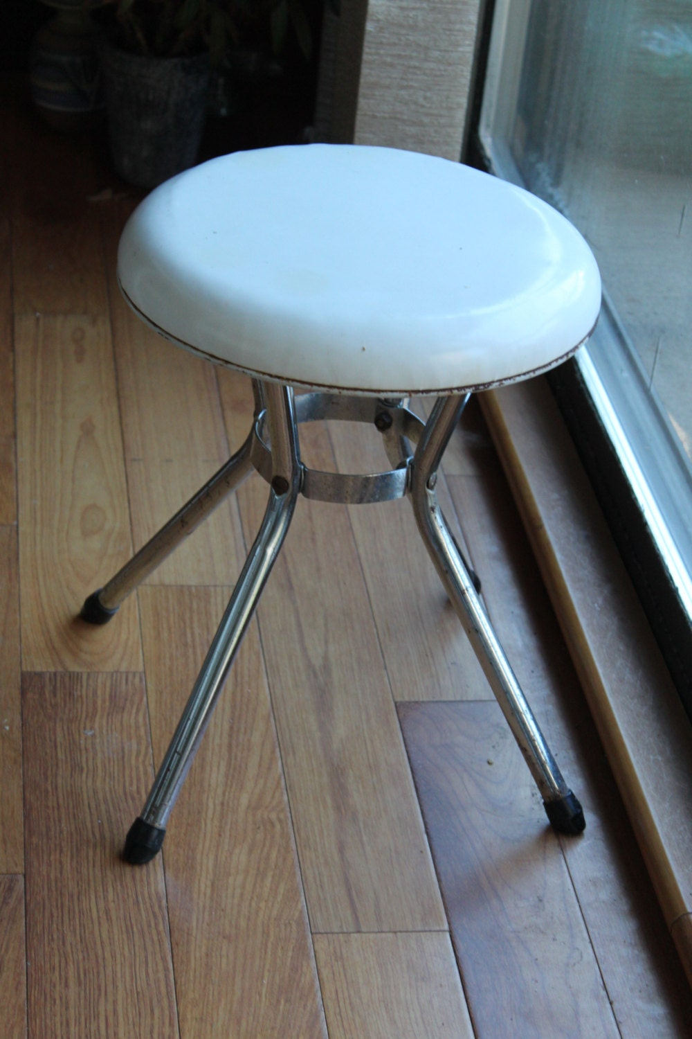 Reserved For E Vintage Retro Cosco White Metal Stool By