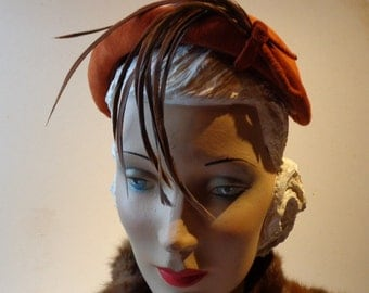 Vintage 1950s Rust Colored Feather & Suede Hatband