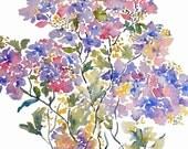 Purple Hydrangeas, Watercolor Flowers Fine Art Print, Watercolor Hydrangeas