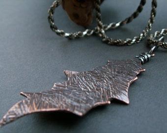Autumn Glow -:- Copper leaf necklace. Bold..Rustic..