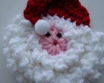 Crochet Santa Face, Christmas Ornament, Package decoration, Holiday Pin, Santa Claus Jacket Pin, Scrapbook Supplies, Refrigerator Magnet
