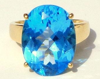 Huge Blue Topaz Ring, 10k Yellow Gold Ring, Estate Jewellry, Vintage Gem Ring