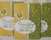 Handmade Friendship Note Cards Mustard and Olive Set of Six