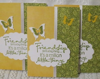 Handmade note cards, friendship message, olive green and yellow, butterfly notecards, stationery set of six
