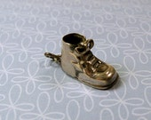 Vintage 1960s Sterling Silver Baby Shoe Bootie Charm For Bracelet