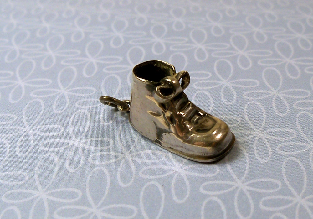 Vintage 1960s Sterling Silver Baby Shoe Bootie Charm by