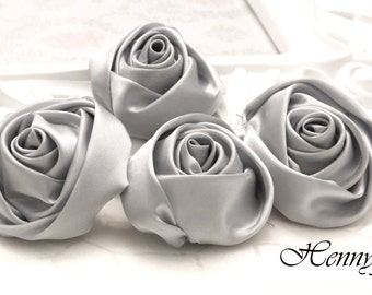 """Set of 4 -  STAINLESS STEEL GREY (2"""" inch) 50mm Adorable Rolled Satin Rose Bud Rosettes Fabric flowers"""