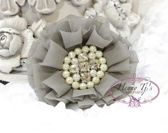 Reilly : 2 pcs MEDIUM GREY Soft Chiffon Ruffle Fabric Flowers w/ Rhinestones Pearls - Layered Bouquet fabric flowers