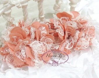 """2.75"""" inch Shabby Chic Puff Chiffon Mesh and Lace Ruffled Fabric Flowers - Vintage CORAL MATTE"""