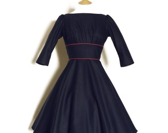 Navy Blue Pure Wool Audrey Dress - Made by Dig For Victory