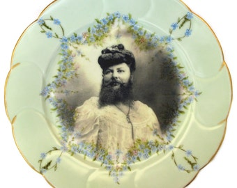 """Madame Delait, The Bearded Lady of Plombieres - Altered Antique Plate 8.65"""""""