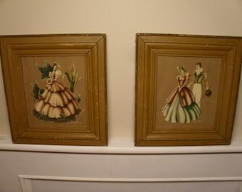 Vintage 1940's Framed Turner Prints  Set Of 2