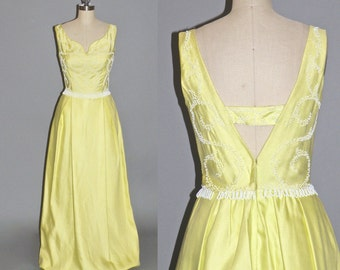 Vintage 1960s Prom Dress, 60s Dress, Beaded Formal Dress, Open Back Evening Dress S