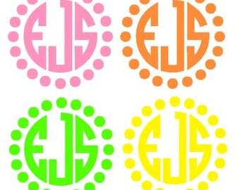 Vinyl circle dot monogram decal