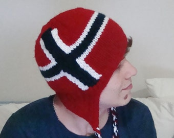 NORWAY FLAG HAT with Ear Flap Norwegian Winter Hat for Mens or Womens Hat Norway Gift under 50 - unique gifts for teachers
