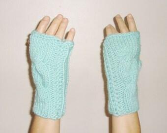 Knit fingerless gloves in Mint, Womens fingerless gloves, fair isle knit, womens gift under 10