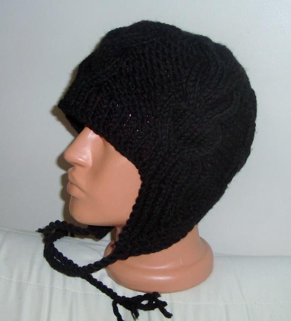 earflap black hat hat with ear flap hat by earflaphats