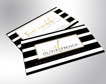 Gold Foil Business Cards, Bold, Black and White Stripes, Fully customized, Event Planner, Aesthetics, Hair Salon, Singer, Actor, Nail Artist