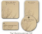 Earring Cards,  Jewelry Cards, Necklace Display,  Bracelet Tags, Twig Design, Product Tags,  Personalized jewelry cards