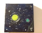 Free US shipping Miniature abstract painting cosmic stars night sky modern canvas art planets original artwork