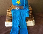 Newborn Boy Upcycled Set, Newborn Hat and Pants Set