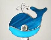 Blue Whale Stained Glass Night Light Nightlight Turquoise Handmade OOAK