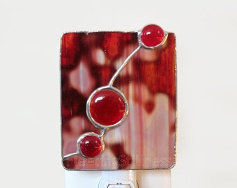 Red Stained Glass Night Light Nightlight Red Glass Handmade OOAK