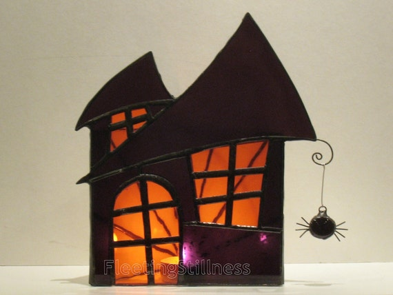Halloween Decoration Stained Glass Candle Holder Large Haunted House Purple Orange Handmade OOAK