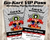 Go-Kart VIP Pass Birthday party invitation - VIP Pass Invitation - Printable digital file
